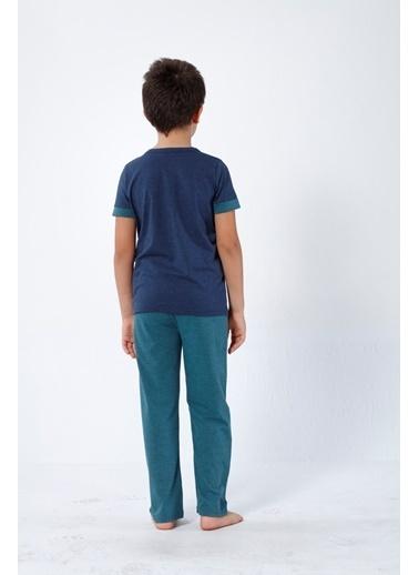 Siyah İnci Pijama Takım Lacivert